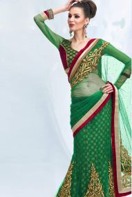 Jade Green Net and Viscose Embroidered Lehenga Style Saree