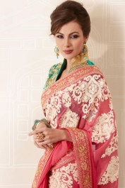 Brink Pink Faux Georgette Embroidered Party and Festival Saree