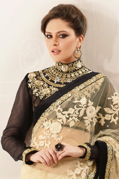 Cream Yellow and Black Net Embroidered Party and Festival Saree