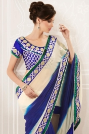 Lemon-chiffon Yellow and Navy Blue Faux Georgette Embroidered Saree