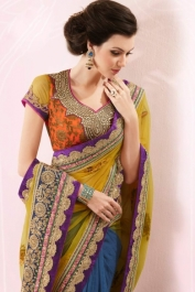 Metallic-gold Yellow and Yale Blue Crepe and Silk Embroidered Saree