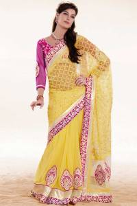 Maize Yellow Embroidered Saree
