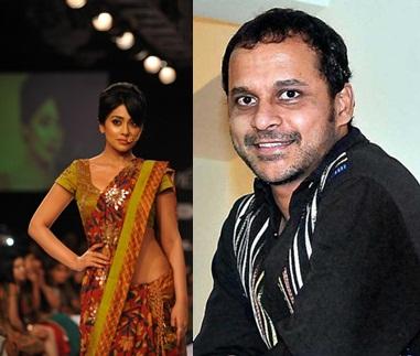 Actor Shriya Saran displays the creation of fashion designer Sashikant Naidu during the Lakme Fashion Week (LFW) Winter/ Festive 2014 in Mumbai, on Aug. 21, 2014. (Photo: IANS)