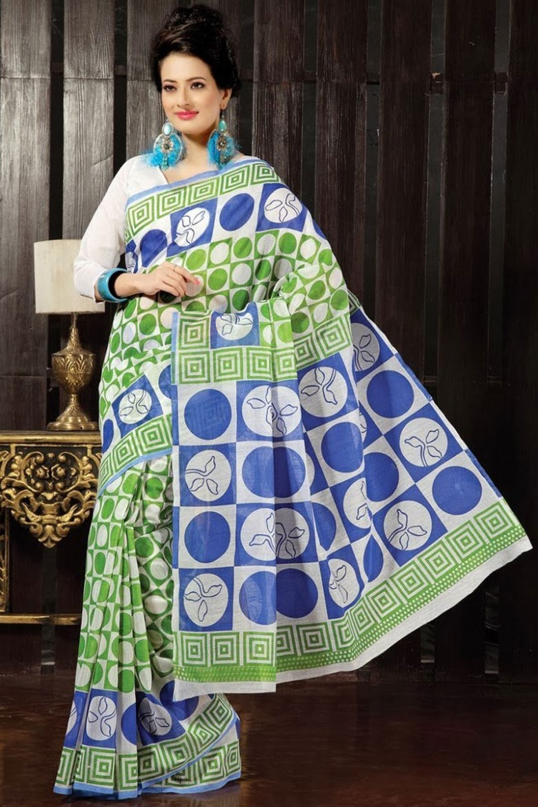 Off-white and Deep Lime Green Cotton Printed Casual and Party Saree