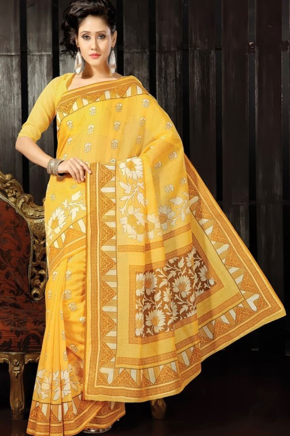 Jonquil Yellow Cotton Printed Casual and Party Saree