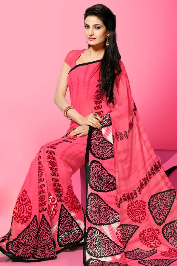 Brink Pink Faux Georgette Printed Casual and Party Saree