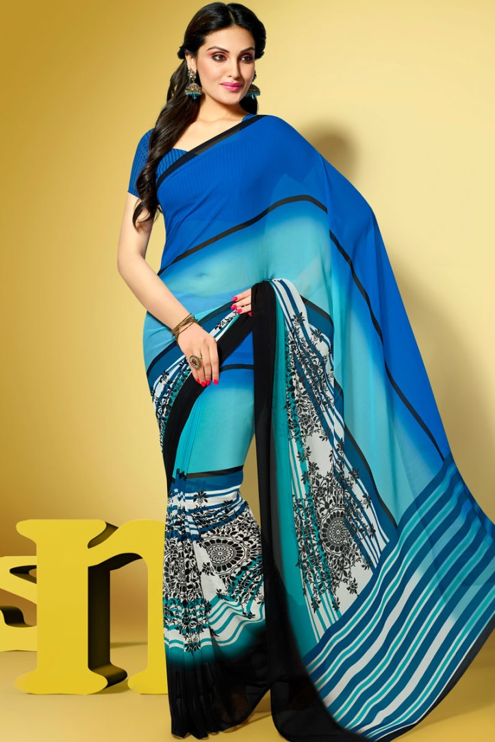 Persian Blue and Off-white Faux Georgette Printed Party Saree