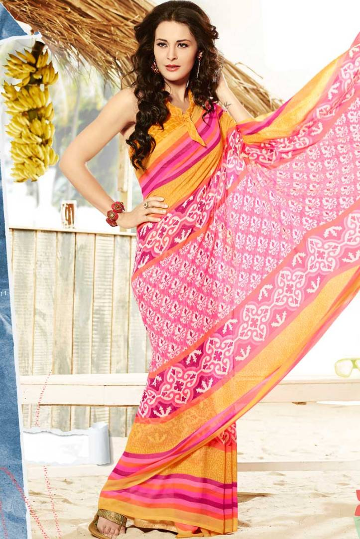 Hot Pink Chiffon Printed Casual and Party Saree