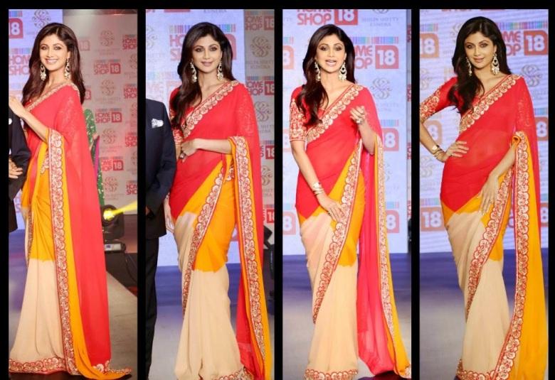 Shilpa Shetty In Tri Color Saree