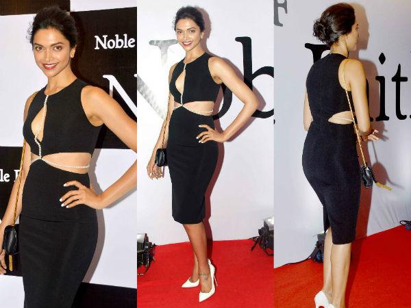 deepika-black-cut-dress