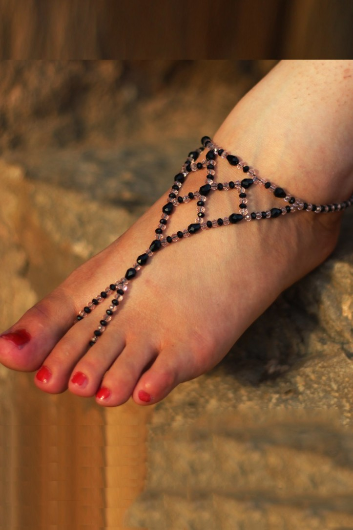 Black and Off-white Beads Party Anklet