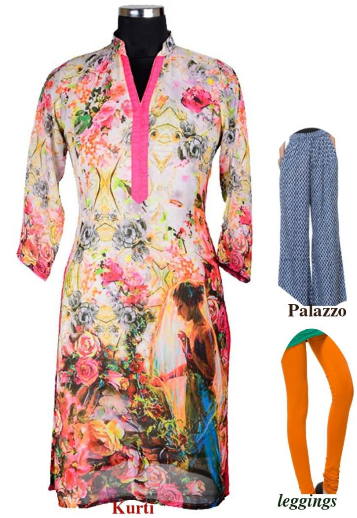 Kurti pair with leggins and palazzo