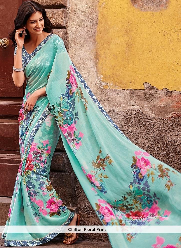 chiffon-floral-print-saree
