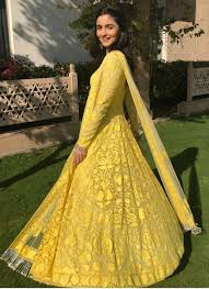 Alia in shiny yellow floor-length Anarkali piece