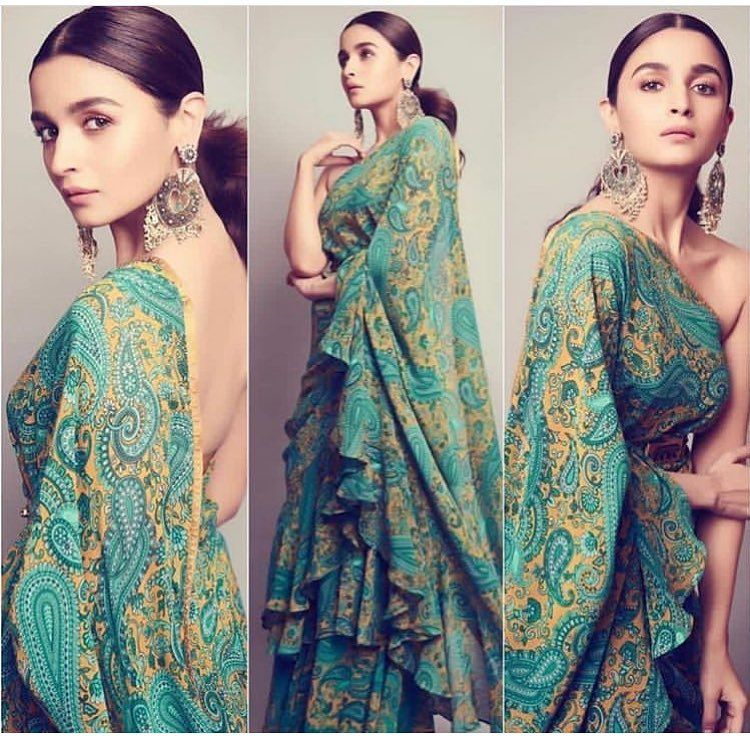 alia bhatt look in ruffle saree