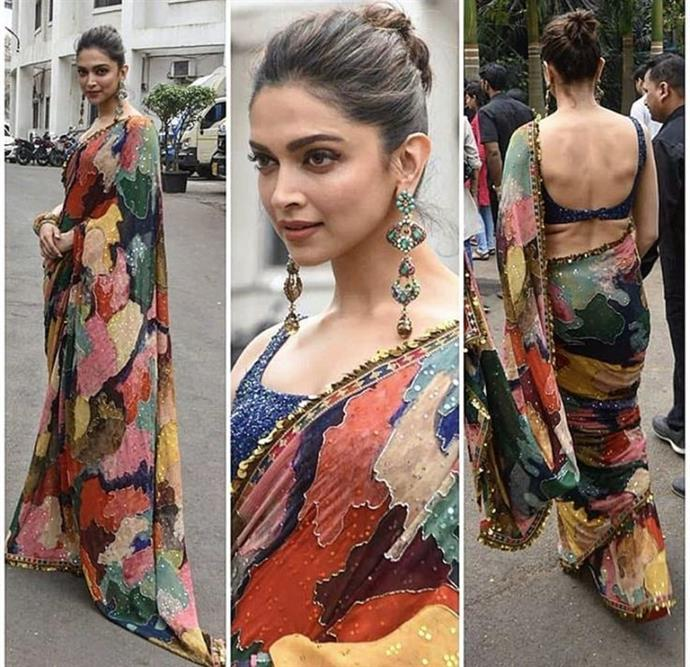 Deepika Padukone's Colourful Floral Saree